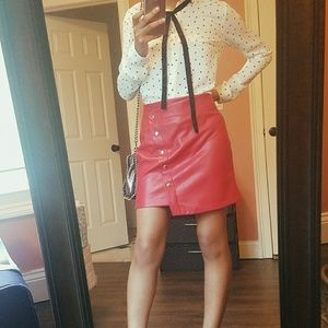 *NWOT* Red ( faux) Leather Skirt